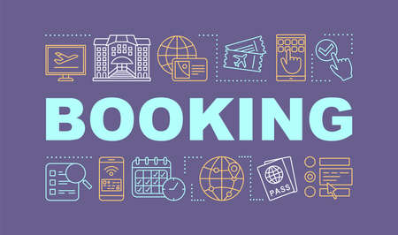 Tickets, hotel booking word concepts banner. Reservation. Trip planning. Presentation, website. Isolated lettering typography idea with linear icons. Travel preparation. Vector outline illustration  イラスト・ベクター素材
