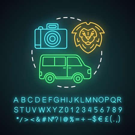 Icono de concepto de luz de neón de tour de vida silvestre y safari. Idea de experiencia de viaje. Observación de animales salvajes. Parques Nacionales. Signo brillante con alfabeto, números y símbolos. Vector ilustración aislada