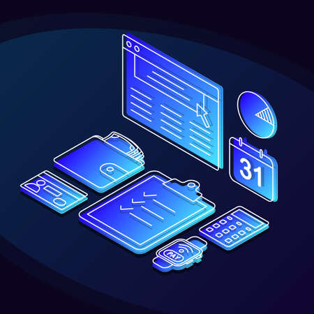 Online banking isometric color vector illustration. Financial management linear icons infographic. Digital payment, investments 3d concept. E payment, e billing web design on dark blue background