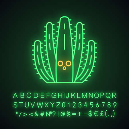 Organ pipe cactus cute kawaii neon light character. Cactus with hushed face. Wild Pitahaya cacti. Funny emoji, emoticon. Glowing icon with alphabet, numbers, symbols. Vector isolated illustration