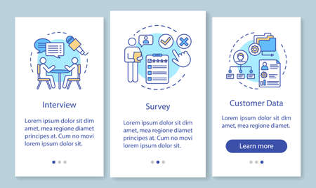 Customers profile methods onboarding mobile app page screen with linear concepts. Interview, survey, customer data walkthrough steps, instructions. UX, UI, GUI vector template with illustrations Illusztráció