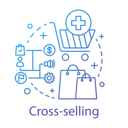 Cross-selling concept icon. Sale method idea thin line illustration. CRM system. Selling related products or service. Customer relationship management. Vector isolated outline drawing