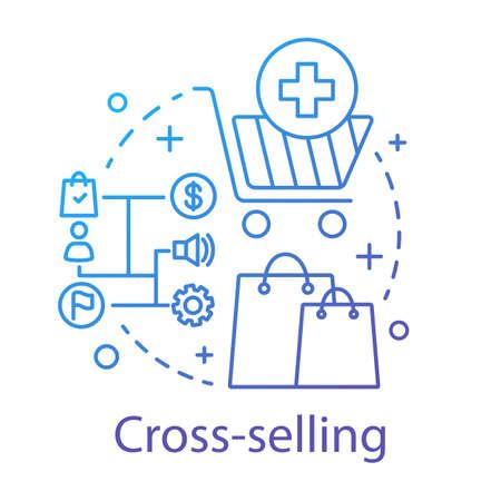 Icono del concepto de venta cruzada. Ilustración de línea fina de idea de método de venta. Sistema CRM. Venta de productos o servicios relacionados. Gestión de la relación con el cliente. Dibujo de contorno aislado del vector