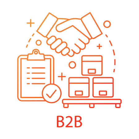 B2B concept icon. Commercial relationship idea thin line illustration. Customer relationship management. Commerce with sale for business. CRM system. Vector isolated outline drawing