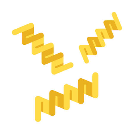 Fusilli flat design long shadow color icon. Italian pasta. Twisted noodles. Corkscrew-shaped strips of dough. Culinary semi-finished product. Mediterranean cuisine. Vector silhouette illustration Çizim