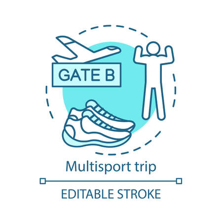 Multi sport trip concept icon. Travel style idea thin line illustration. Active voyage. Vacation destinations. Extreme tourism. Vector isolated outline drawing. Editable stroke Illustration