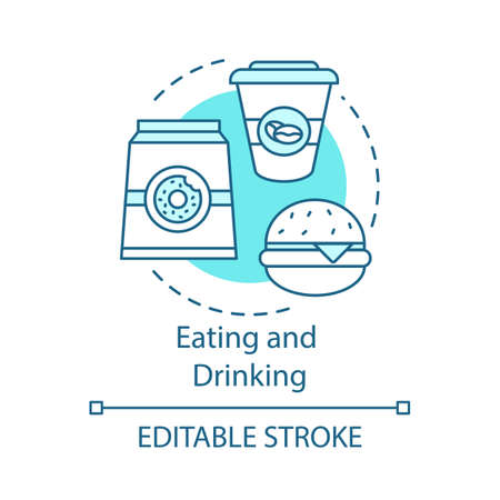 Eating and drinking concept icon. Unhealthy food. Junk food. Pack of donuts, coffee, burger. Lunch. Fast food idea idea thin line illustration. Vector isolated outline drawing. Editable stroke