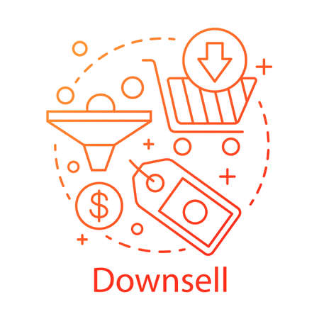 Down-sell concept icon. Sale method idea thin line illustration. Automated sales funnel. Customer relationship management. Lower decision threshold. Vector isolated outline drawing