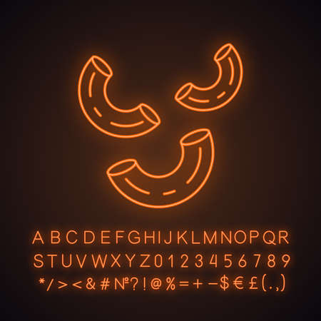 Elbows pasta neon light icon. Italian macaroni. Sedani, stortini, gramigne. Bent tubes of dough. Mediterranean cuisine. Glowing sign with alphabet, numbers and symbols. Vector isolated illustration