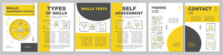 Skills assessment yellow brochure template layout. Flyer, booklet, leaflet print design with linear icons. Employee abilities vector page layouts for magazines, annual reports, advertising posters