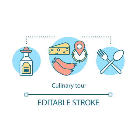 Culinary tour concept icon. Travel experience idea thin line illustration. Cuisine of foreign country. Semi manufactures. National gastronomy. Local dishes. Vector isolated drawing. Editable stroke Ilustração