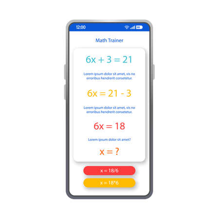 Math trainer app smartphone interface vector template. Mobile app page white design layout. Calculations screen. Flat UI for educational application. Algebra formula equation phone display