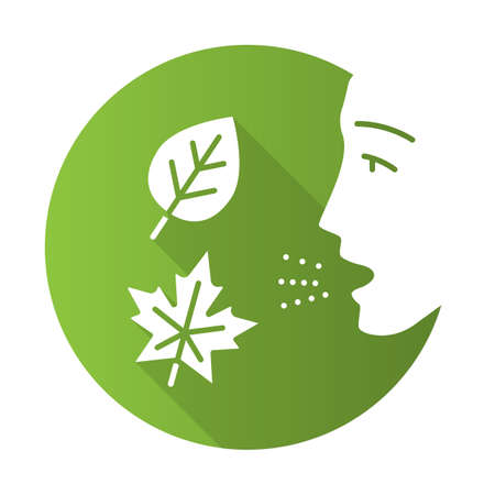 Fall allergy flat design long shadow glyph icon. Seasonal allergy. Allergic reaction to ragweed, mold and dust mites. Hypersensitivity of immune system. Vector silhouette illustration