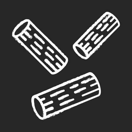 Rigatoni chalk icon. Traditional Italian macaroni. Sedani. Dough tubes with square-cut ends. Short-cut pasta. Mediterranean food. Culinary product. Isolated vector chalkboard illustration