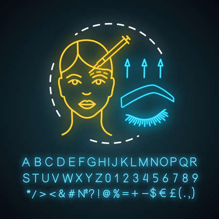 Brow lift neon light icon. Cosmetic procedures. Forehead lift. Rejuvenation. Forehead and brow skin raising. Glowing sign with alphabet, numbers and symbols. Vector isolated illustration  イラスト・ベクター素材