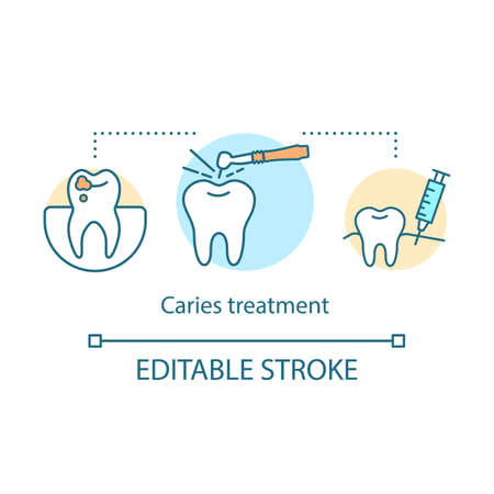 Caries treatment concept icon. Modern dentistry. Tooth filling. Oral therapy. Dentist work. Stomatological service idea thin line illustration. Vector isolated outline drawing. Editable stroke