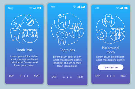 Disease symptoms onboarding mobile app page screen vector template. dental pain and inflammation. Walkthrough website steps with linear illustrations. UX, UI, GUI smartphone interface concept
