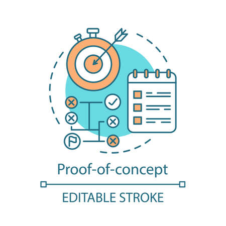 Proof-of-concept concept icon. PoC. Reaching target on time. Strategy. Attaining success. Planning and achieving goal idea thin line illustration. Vector isolated outline drawing. Editable stroke
