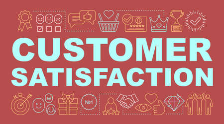 Customer satisfaction word concepts banner. Exceed client expectations. Presentation, website. High rating. Positive feedback. Isolated lettering typography idea with linear icons. Vector illustration Vector Illustratie