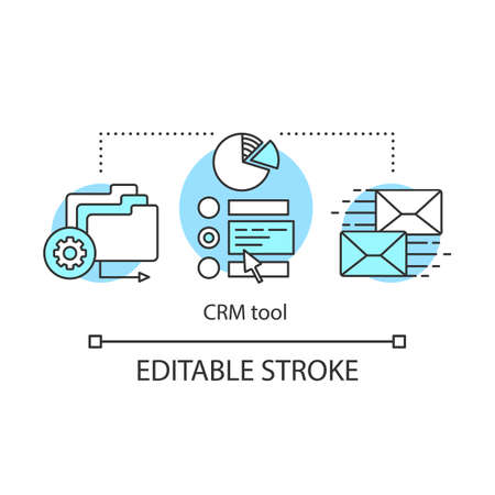 CRM tool concept icon. Computer software idea thin line illustration. Customer details database. Client identity. Purchase history. Vector isolated outline drawing. Editable stroke