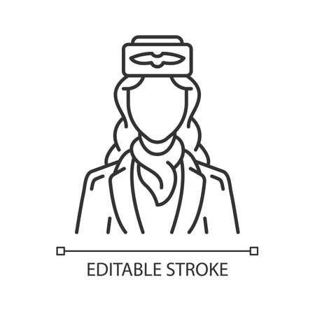 Stewardess linear icon. Air hostess. Airplane team. Aircrew. Plane worker. Jet uniform. Aviation service staff. Thin line illustration. Contour symbol. Vector isolated outline drawing. Editable stroke Illustration