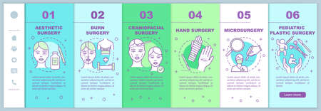 Plastic surgery sub-specialties onboarding mobile web pages vector template. Responsive smartphone website interface idea with linear illustrations. Webpage walkthrough step screens. Color concept Ilustração