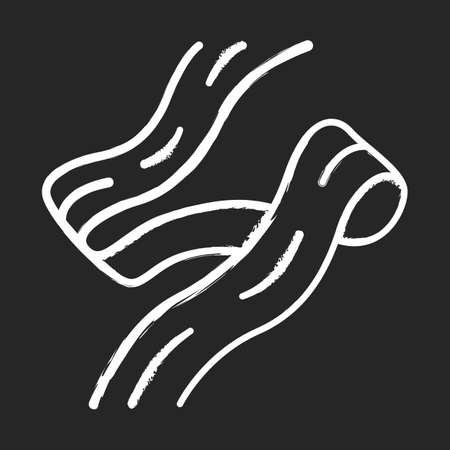 Pappardelle chalk icon. Wide long strip of dough. Ribbon pasta. Homemade noodles for soup or garnish. Italian cuisine. Asian food. Fettuccine, tagliatelle. Isolated vector chalkboard illustration 일러스트