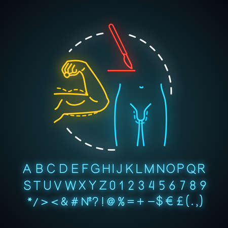 Plastic surgery for men neon light icon. Body improvement. Surgical procedures. Appearance reconstruction. Glowing sign with alphabet, numbers and symbols. Vector isolated illustration
