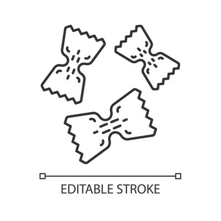 Farfalle linear icon. Small pasta. Bow tie shaped pastina. Italian food. Traditional Mediterranean cuisine. Thin line illustration. Contour symbol. Vector isolated outline drawing. Editable stroke