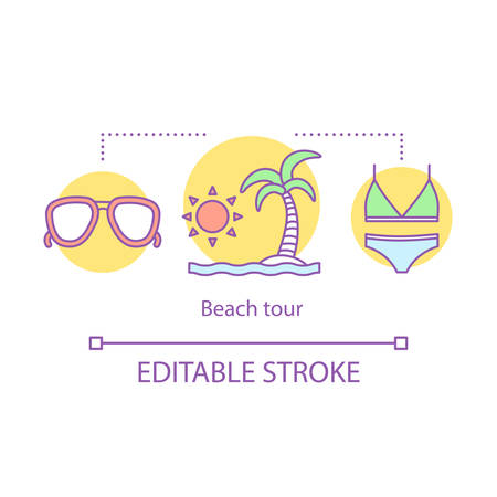 Beach tour concept icon. Traveling idea thin line illustration. Marine travel. Sunbathing and sea swimming. Scuba diving. Vector isolated outline drawing. Editable stroke