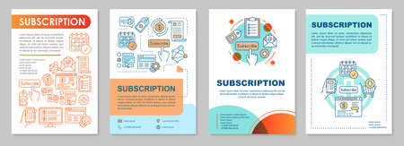Subscription brochure template layout. Getting newsletter. Flyer, booklet, leaflet print design with linear illustrations. Vector page layouts for magazines, annual reports, advertising posters