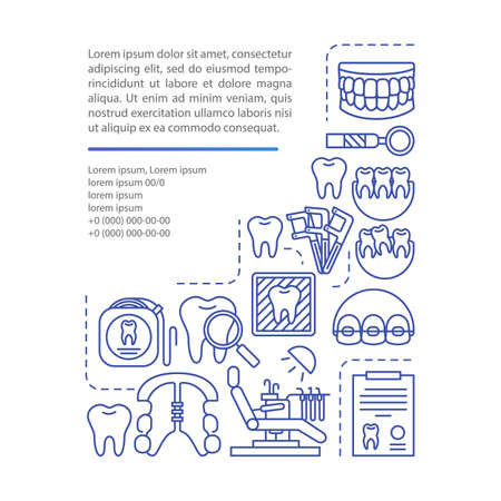 Orthodontics article page vector template. Cosmetic dentistry. Brochure, magazine, booklet design element with linear icons and text boxes. Print design. Concept illustrations with text space