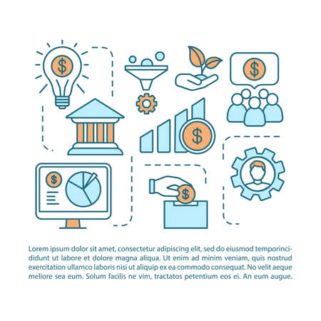 Startup financing article page vector template. Investing new business. Brochure, magazine, booklet design element with linear icons and text boxes. Print design. Concept illustrations with text space  イラスト・ベクター素材