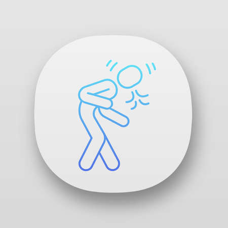 Bronchitis symptom app icon. Cold, respiratory disease. Coughing, sneezing. Seasonal allergy. UIUX user interface. Allergic asthma attack. Web or mobile application. Vector isolated illustration