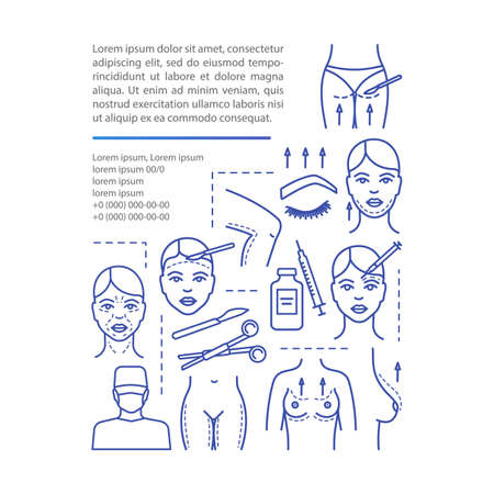 Surgical lift procedure article page vector template. Brochure, magazine, booklet design element with linear icons and text boxes. Print design. Concept illustrations with text space