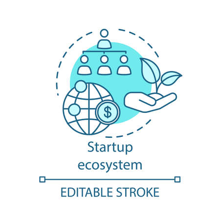 Icono del concepto de ecosistema de inicio. Financiamiento de organizaciones ambientales. Ilustración de línea fina de idea de sistema de apoyo empresarial joven. Dibujo de contorno aislado del vector. Trazo editable