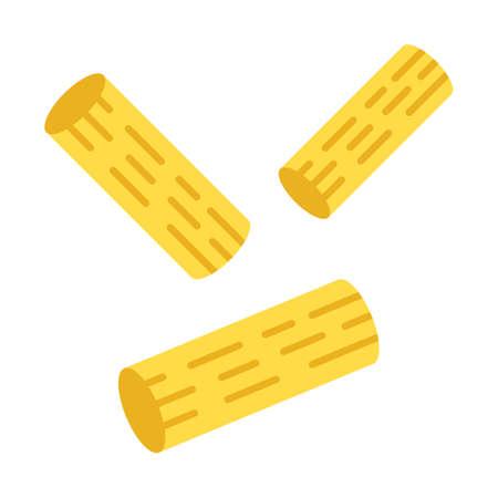 Rigatoni flat design long shadow color icon. Traditional Italian macaroni. Sedani. Dough tubes with square-cut ends. Short-cut pasta. Mediterranean food. Vector silhouette illustration