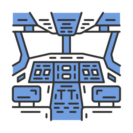 Cockpit color icon. Pilots cabin. Airplane equipment. Aviating lever. Jet control. Aviation service. Aircraft travel. Airliner journey. Isolated vector illustration