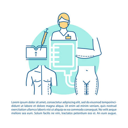 Plastic surgery center procedures article page vector template. Brochure, magazine, booklet design element with linear icons and text boxes. Print design. Concept illustrations with text space Vector Illustration