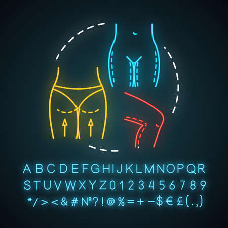 Thigh lift neon light icon. Body reshape surgery. Better-proportioned contours. Smooth skin.Thighplasty. Glowing sign with alphabet, numbers and symbols. Vector isolated illustration