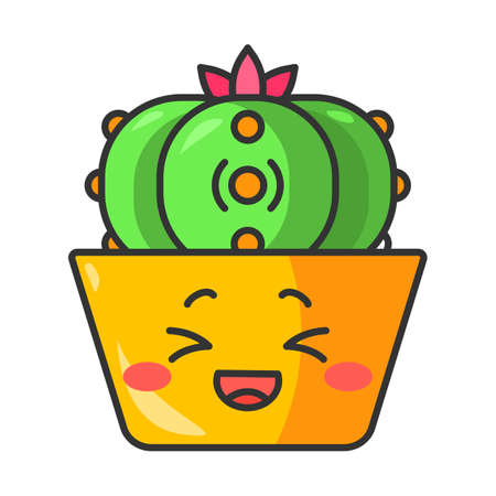 Peyote cactus cute kawaii vector character. Cactus with laughing face. Lophophora cacti in pot. Mexico flora. Flushed plant, squinting eyes. Funny emoji, emoticon. Isolated cartoon color illustration