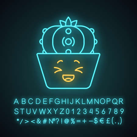 Peyote cactus cute kawaii neon light character. Cactus with laughing face. Lophophora. Cacti in pot. Funny emoji, emoticon. Glowing icon with alphabet, numbers, symbols. Vector isolated illustration
