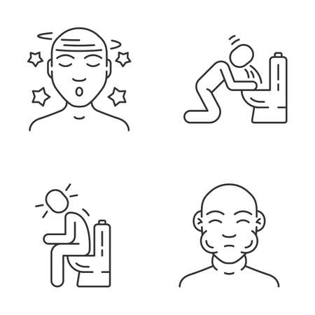 Food poisoning, allergic reaction linear icons set. Seasonal allergy symptoms. Nausea, vomiting, diarrhea thin line contour symbols. Isolated vector outline illustrations. Editable stroke