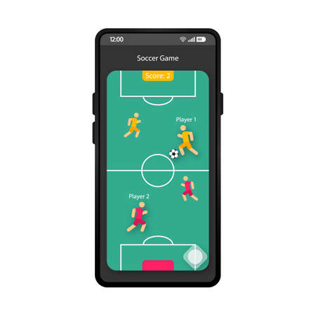 Soccer game app smartphone interface vector template. Mobile app page black design layout. Sport field screen. Flat UI for soccer application. Football game tournament phone display Archivio Fotografico - 129558103