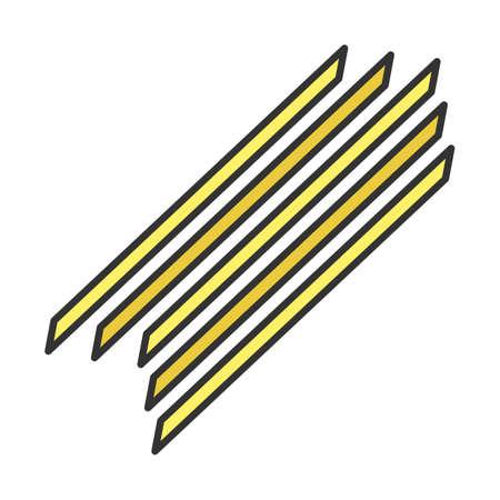 Spaghetti color icon. Long, thin pasta. Traditional Italian cuisine. Noodles. Spaghettoni, capellini. Long strips of unleavened dough. Culinary semi-finished product. Isolated vector illustration