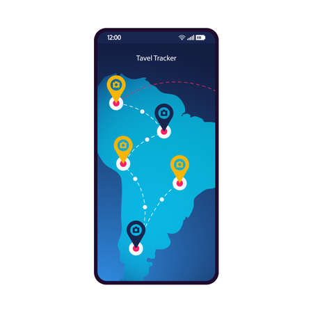 GPS tracker smartphone interface vector template. Travel route tracking mobile page design layout. Tour destination planner screen. Tourist navigation application flat UI. Phone display with map pins