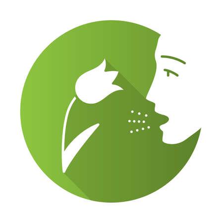 Pollen allergy flat design long shadow glyph icon. Respiratory allergy. Hay fever. Allergic asthma, rhinitis cause. Seasonal disease. Inhalation of allergens. Vector silhouette illustration