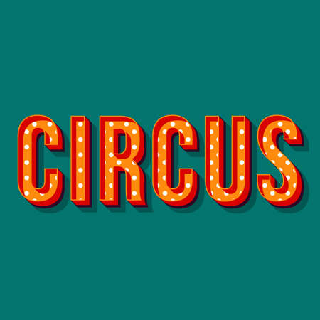 Circus vintage 3d vector lettering. Retro bold font, typeface. Orange pop art stylized text. Old school style dotted letters. 90s, 80s promo poster, banner typography design. Teal color background Illustration