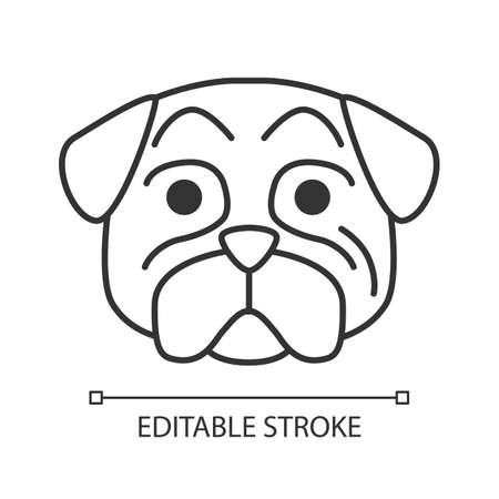 Pug cute kawaii linear character. Thin line icon. Dog with hushed muzzle. Funny animal with open mouth. Domestic doggie with raised eyebrows. Vector isolated outline illustration. Editable stroke