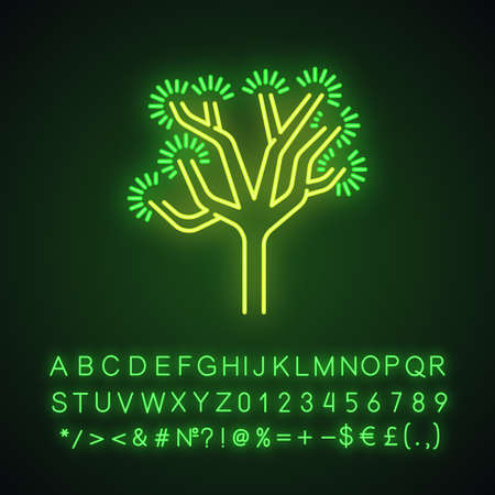 Joshua tree neon light icon. Yucca brevifolia. Desert plant. Palm tree yucca. Glowing sign with alphabet, numbers and symbols. Vector isolated illustration